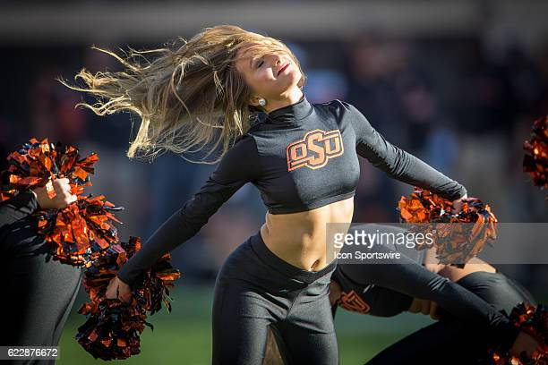 Oklahoma State Cowboys cheerleader during the NCAA Big 12 game between the Texas Tech Red Raiders and the Oklahoma State Cowboys on November 12 2016...
