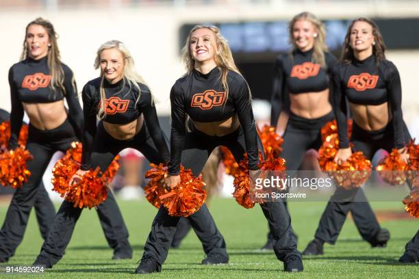 Oklahoma State Cowboys cheerleaders during the Big 12 conference college Bedlam rivalry football game between the Oklahoma Sooners and the Oklahoma...