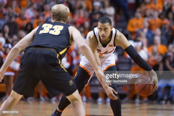 Oklahoma State Cowboys guard Kendall Smith during the college mens basketball game between the Wichita State Shockers and the Oklahoma State Cowboys...