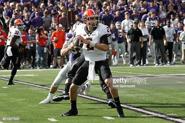 Oklahoma State Cowboys quarterback Mason Rudolph drops back for a pass during the Oklahoma State Cowboys game versus the Kansas State Wildcats on...