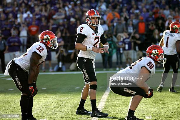 Oklahoma State Cowboys quarterback Mason Rudolph looks to the side line during the Oklahoma State Cowboys game versus the Kansas State Wildcats on...