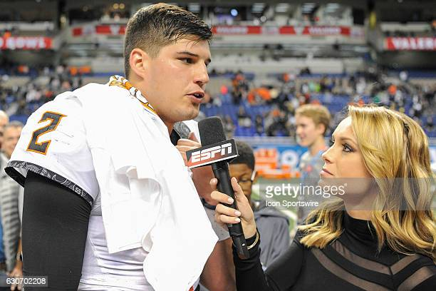 Oklahoma State Cowboys quarterback Mason Rudolph provides a post game interview with ESPN's Molly McGrath following the game between the Oklahoma...
