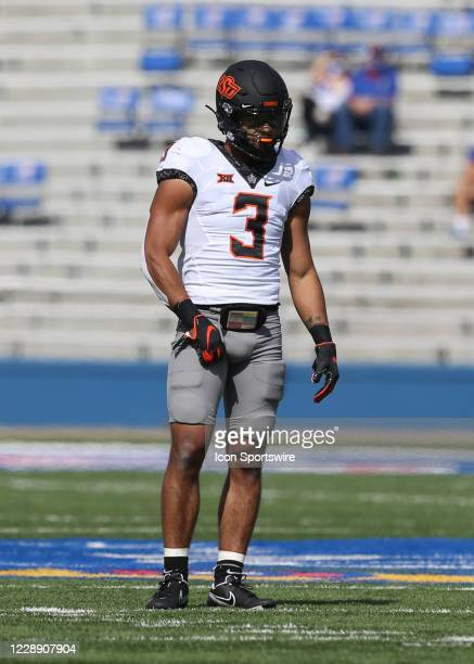 Oklahoma State Cowboys safety Tre Sterling in the first quarter of a Big 12 football game between the Oklahoma State Cowboys and Kansas Jayhawks on...