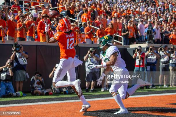 Oklahoma State Cowboys wide receiver Jordan McCray reaches for a reception in the end zone during the Big 12 football game against the Baylor Bears...