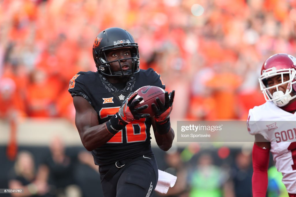 Oklahoma State Cowboys WR, James Washington (28) during a college football game between the Oklahoma Sooners and the Oklahoma State Cowboys on November 4, 2017, at the Boone Pickens Stadium in Stillwater, OK.