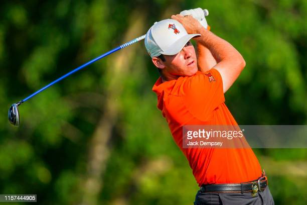 Oklahoma State's Matthew Wolff hits during the Division I Men's Golf Stroke Play Championship held at the Blessings Golf Club on May 27 2019 in...
