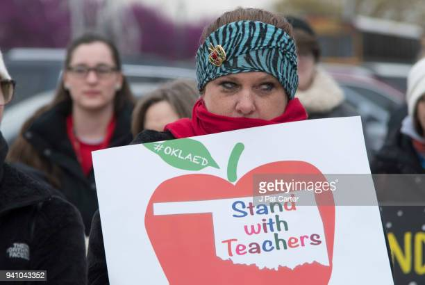 Oklahoma teachers rally at the state capitol on April 2 2018 in Oklahoma City Oklahoma Thousands of teachers and supporters are scheduled to rally...