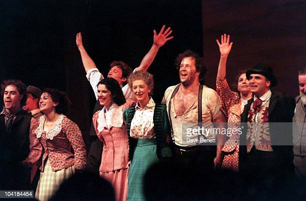 """Oklahoma"""" To The Lyceum Theatre. Backstage, Curtain Call, Leading Cast Members, Hugh Jackman , With Both Hands Raised, Josefina Gabrielle , Maureen..."""