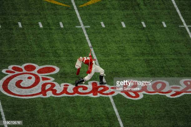 Oklahoma University drum major before the College Football Playoffs Semifinal ChickfilA Peach Bowl between the LSU Tigers and the Oklahoma Sooners on...