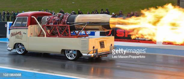 Oklahoma Willy Jet Camper Bus burnout during The Festival of Power at Santa Pod Raceway on April 1 2018 in Northampton England