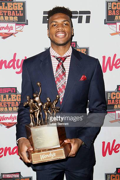 Oklahoma's Buddy Hield winner of the Jerry West shooting guard of the year award attends the 2016 College Basketball Awards Presented By Wendy's at...