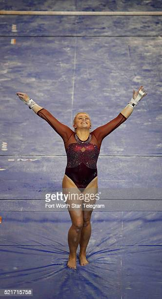 Oklahoma's McKenzie Wofford after her uneven parallel bars routine in the Super Six finals of the NCAA Women's Gymnastics Championships at the Fort...