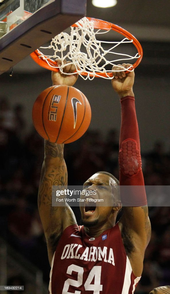 Oklahoma's Romero Osby (24) dunks in the second half against Texas Christian at Daniel-Meyer Coliseum in Fort Worth, Texas, on Saturday, March 9, 2013. TCU prevailed, 70-67.