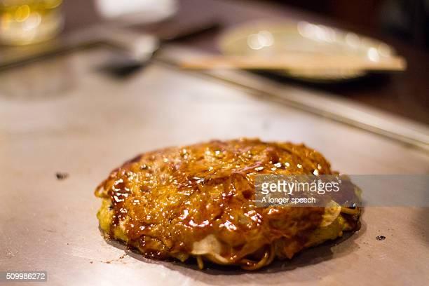 Okonomiyaki on hot plate