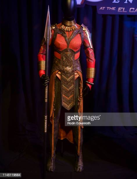 Okoye's suit from the film franchise on display at the Marvel Studios's Avengers Endgame opening day marathon event at El Capitan Theatre on April 25...