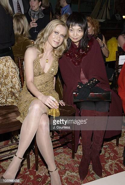 Oksana Baiul and Irina Pantaeva during Olympus Fashion Week Fall 2005 Nicole Miller Front Row and Backstage at Yacht Club 37 in New York City New...