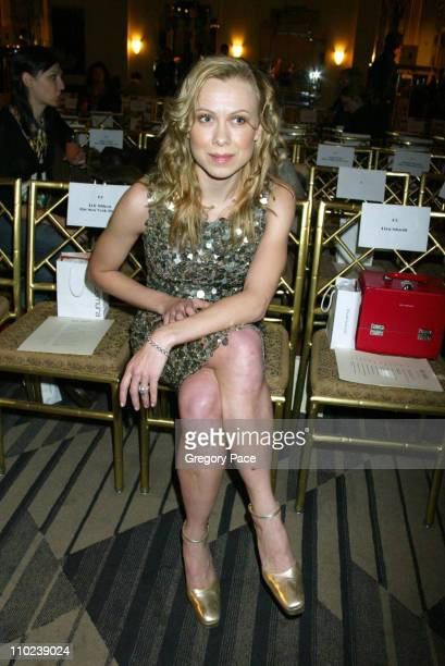 Oksana Baiul during Olympus Fashion Week Fall 2005 Marc Bouwer Front Row and Backstage at Cipriani's Fifth Avenue in New York City New York United...