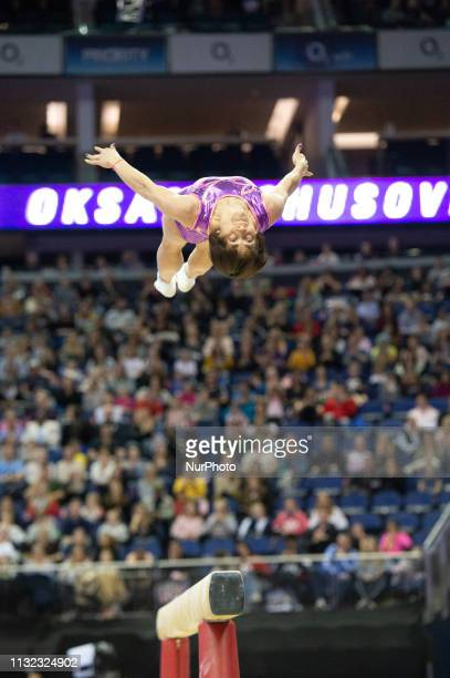 Oksana Chusovitina competes on the beam during the Superstars of Gymnastics Event at the O2 Arena, Greenwich on Saturday 23rd March 2019.
