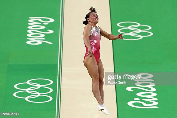 Oksana Chusovitina of Uzbekistan competes in the Women's Vault Final on Day 9 of the Rio 2016 Olympic Games at the Rio Olympic Arena on August 14,...