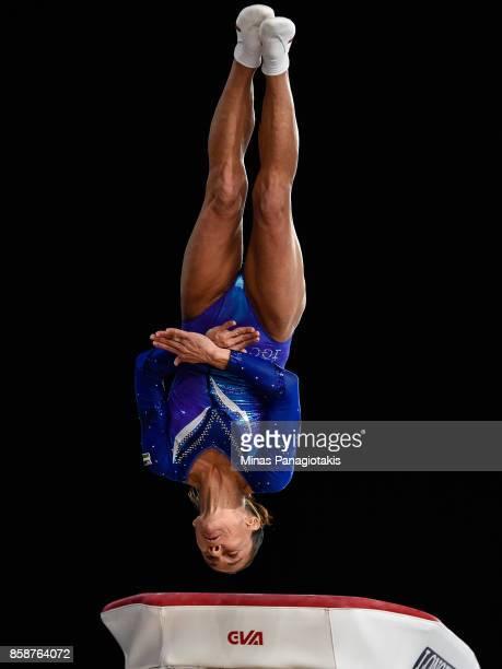 Oksana Chusovitina of Uzbekistan competes on the vault during the individual apparatus finals of the Artistic Gymnastics World Championships on...