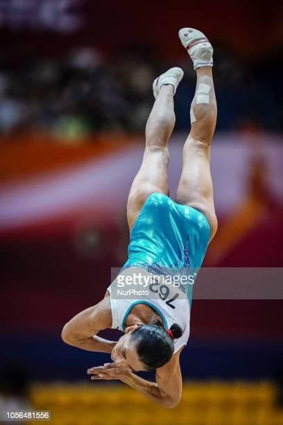 Oksana Chusovitina of Uzbekistan during Vault for Women at the Aspire Dome in Doha, Qatar, Artistic FIG Gymnastics World Championships on 2 of...