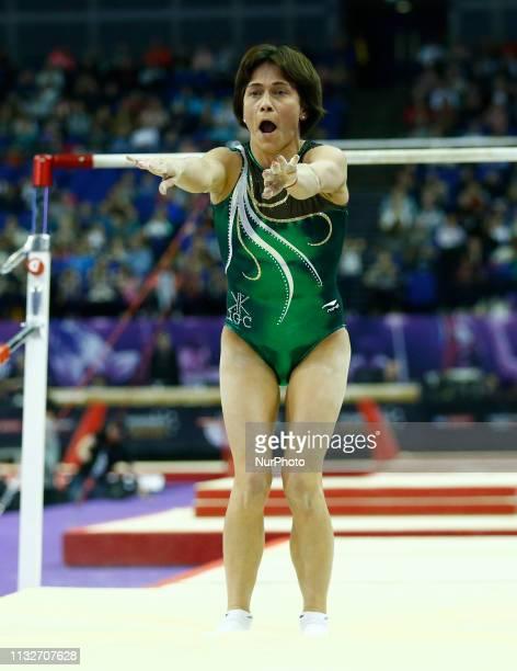 Oksana Chusovitina of Uzbekistan Performing Women's Uneven Bars during The Superstars of Gymnastics at 02 Arena, London, England on 23 Mar 2019.