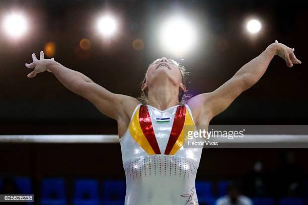 Oksana Chusovitina of Uzbekistan performs during the USANA Open Gymnastics 2016 at Sala de Armas November 25, 2016 in Mexico City, Mexico.