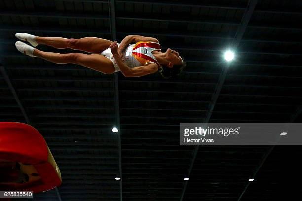 Oksana Chusovitina of Uzbekistan performs on the vault during the USANA Open Gymnastics 2016 at Sala de Armas November 25, 2016 in Mexico City,...