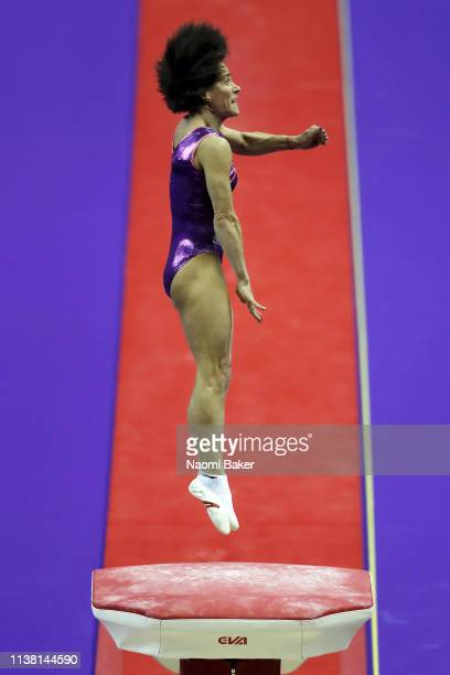 Oksana Chusovitina performs on the vault during the Superstars of Gymnastics at The O2 Arena on March 23, 2019 in London, England.