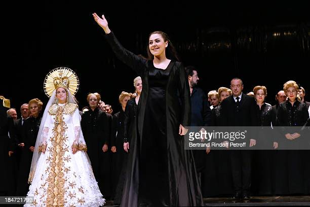 Oksana Dyka in the role of Aida at the end of the representation AROP Gala at Opera Bastille with a representation of 'Aida' on October 15 2013 in...