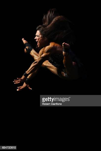 Oksana Grishina of Russia competes in the Fitness division during the 2017 Arnold Classic at The Melbourne Convention and Exhibition Centre on March...