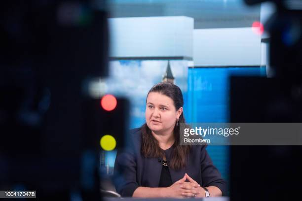 Oksana Markarova Ukraine's acting finance minister poses for a photograph following a Bloomberg Television interview in London UK on Monday July 23...