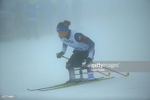 Oksana Master of the USA competes in the Women's 10km Sitting during day four of Sochi 2014 Paralympic Winter Games at Laura Crosscountry Ski...