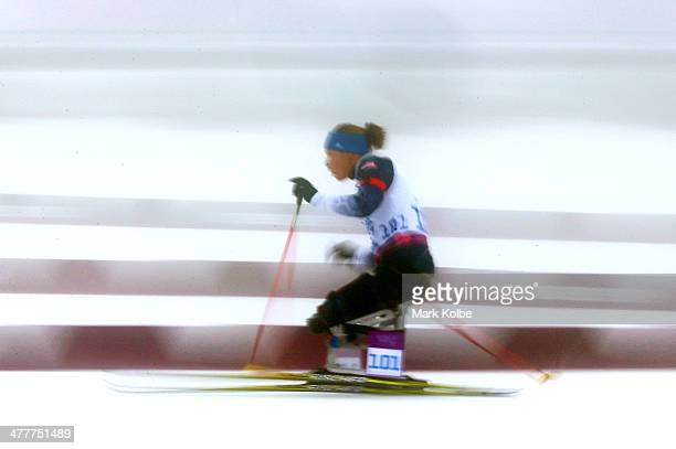 Oksana Master of the USA competes in the Women's Biathlon 10km Sitting during day four of Sochi 2014 Paralympic Winter Games at Laura Crosscountry...