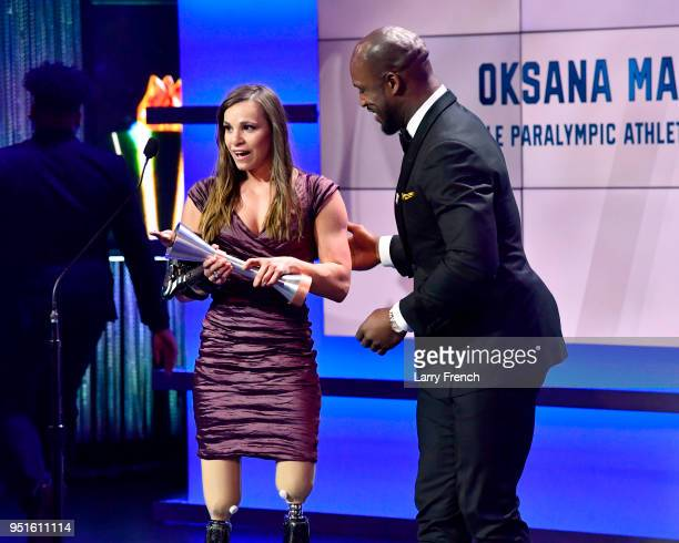 Oksana Masters accepts the Female Paralympic Athlete of the Games award during the Team USA Awards at the Duke Ellington School of the Arts on April...