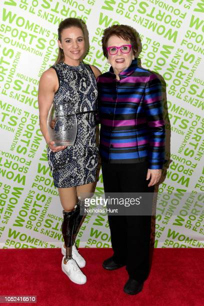 Oksana Masters and Billie Jean King pose with an award backstage during The Women's Sports Foundation's 39th Annual Salute To Women In Sports And The...