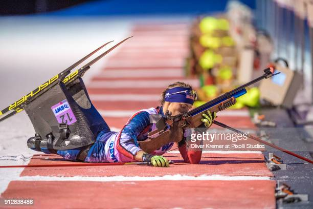 Oksana Masters getting ready for the first series of shots during the Biathlon Sprint Competition at the Nordic Center Notschrei during the Para...