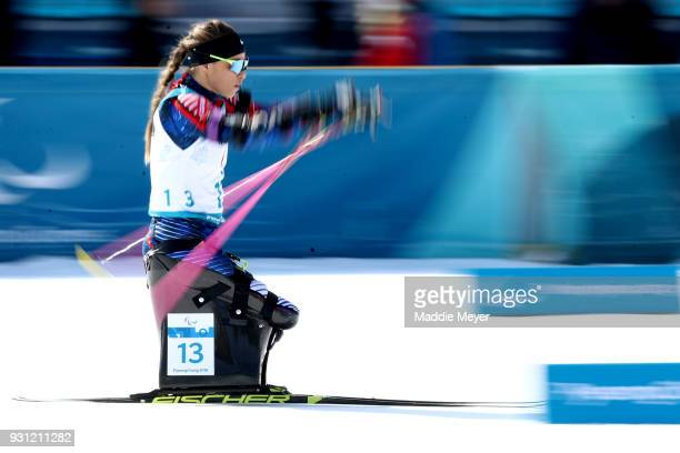 Oksana Masters of the United States competes in the Women's 10k Sitting Biathlon at Alpensia Biathlon Centre on Day 4 of the PyeongChang 2018...