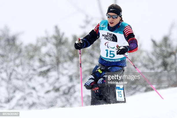 Oksana Masters of the United States competes in the Women's 125 km Sitting Biathlon at Alpensia Biathlon Centre on Day 7 of the PyeongChang 2018...