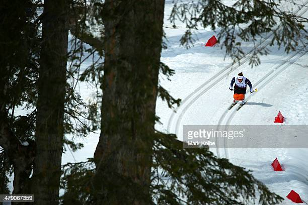 Oksana Masters of the United States competes in the Women's Cross Country 5km Sitting on day nine of the Sochi 2014 Paralympic Winter Games at Laura...