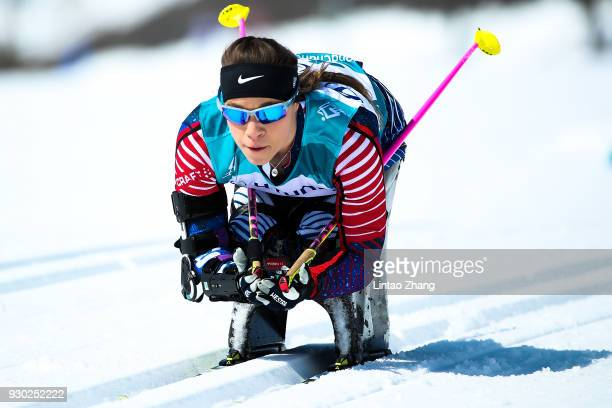 Oksana Masters of the United States competes in the Women's Cross Country 12km Sitting event at Alpensia Biathlon Centre during day two of the...
