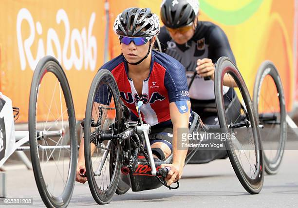 Oksana Masters of the United States competes in the Women's Road Race H5 on day 8 of the Rio 2016 Paralympic Games at Pontal on September 15 2016 in...