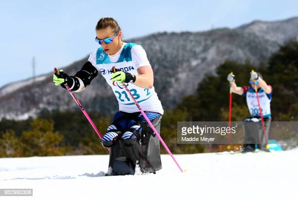 Oksana Masters of the United States warms up for the Women's 5 km Sitting Classic at Alpensia Biathlon Centre on Day 8 of the PyeongChang 2018...