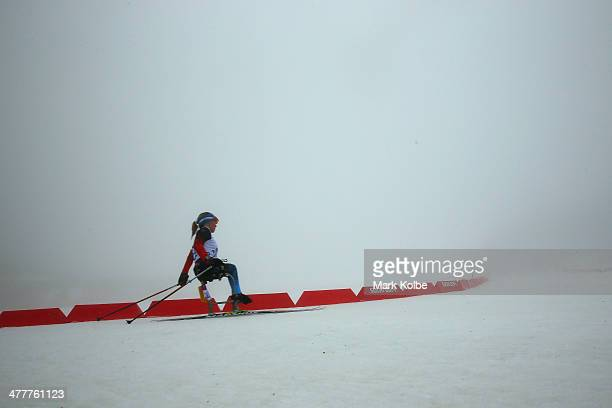 Oksana Masters of the USA competes under fog conditions in the Women's 10km Sitting Biathlon during day four of Sochi 2014 Paralympic Winter Games at...