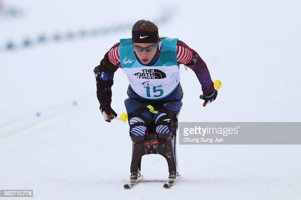 Oksana Masters of United States competes in the Biathlon Women's 125km Sitting during day seven of the PyeongChang 2018 Paralympic Games on March 16...