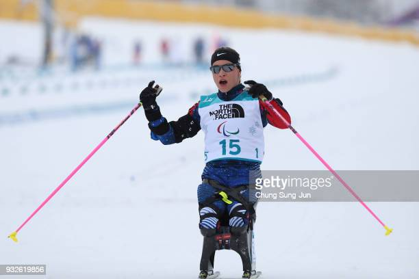 Oksana Masters of United States reacts after the Biathlon Women's 125km Sitting during day seven of the PyeongChang 2018 Paralympic Games on March 16...