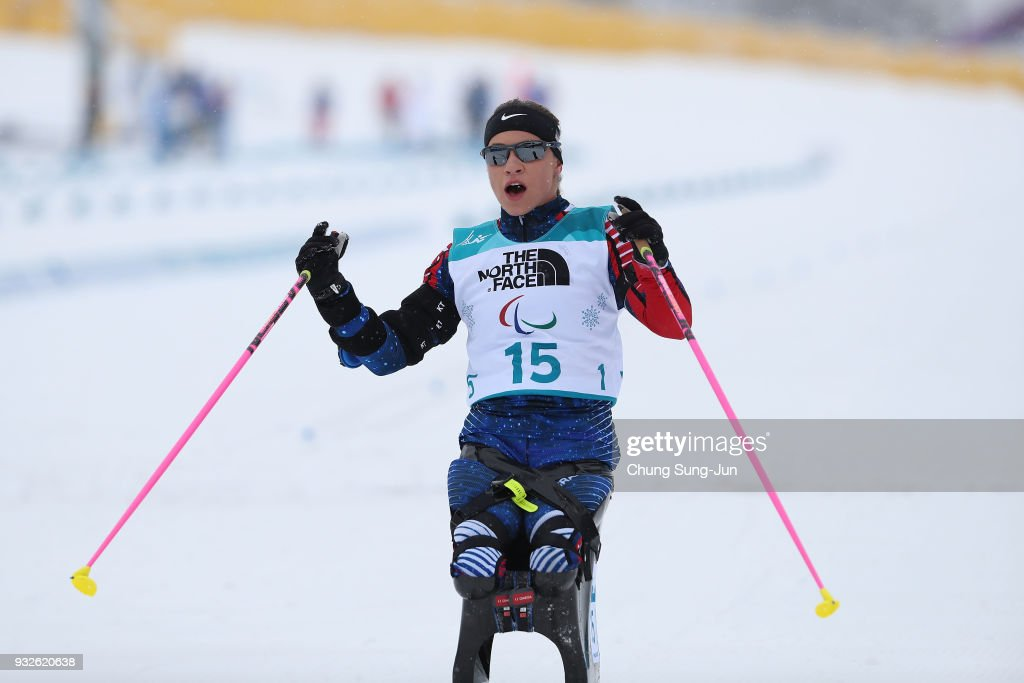 Oksana Masters of United States reacts after the Biathlon - Women's 12.5km - Sitting during day seven of the PyeongChang 2018 Paralympic Games on March 16, 2018 in Pyeongchang-gun, South Korea.