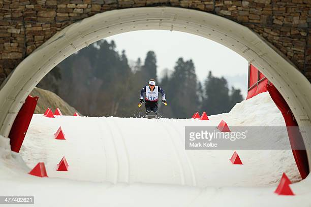 Oksana Masters of USA competes in the women's 12km sitting crosscountry skiing during day two of Sochi 2014 Paralympic Winter Games at Laura...