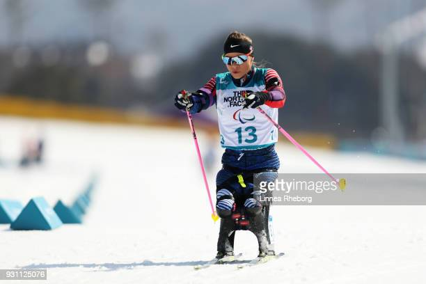 Oksana Masters of USA in action during the Biathlon Women's 10km Sitting on day four of the PyeongChang 2018 Paralympic Games on March 13 2018 in...