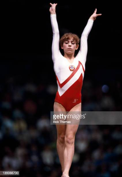 Oksana Omelianchik of the USSR performing on the beam during the World Gymnastics Championships in Rotterdam circa October 1987